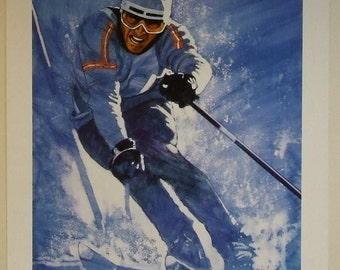 Vintage skiing poster  Arrigoni Neri for Galerie Pierre Hautot Kandahar exhibition 1986 Valentines Day Gift Lawyer man den winter Olympics
