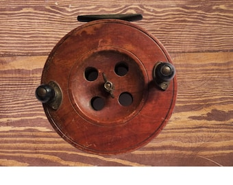 """Vintage Eton Sun 5"""" old Wooden fishing reel working fisherman library man den hobby study serendipity retro collector English  Holiday Gift"""
