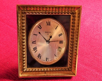 Vintage Swiza 8 mechanical desk alarm clock with stand working Swiss old fashioned collector holiday gift