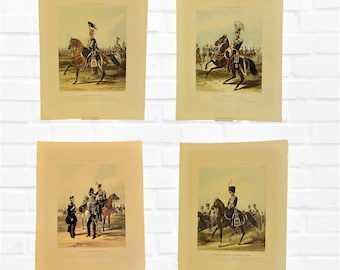 Fores's Yeomanry Costumes 4 hand coloured aquatint engravings old military cavalry historian man den soldier gift