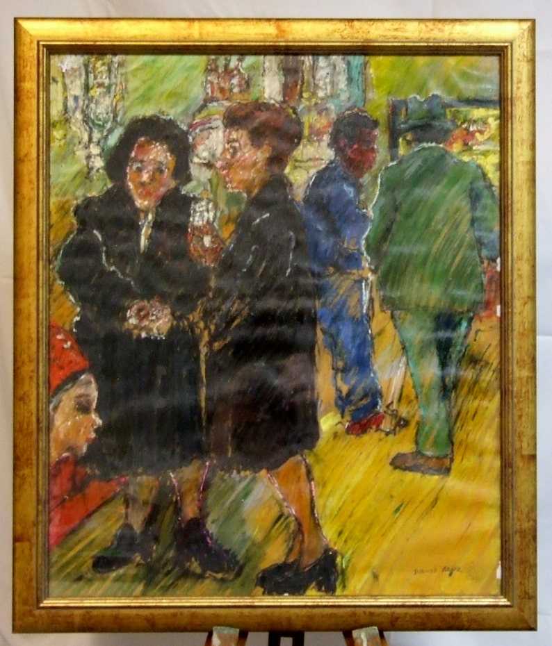 A Paris street David Azuz 1941 original painting signed image 0