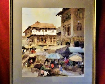 Tong Chin Sye Trengganu Street China Town Singapore 1983 Original Watercolour Painting Wall Decoration Art framed signed titled Unique Gift