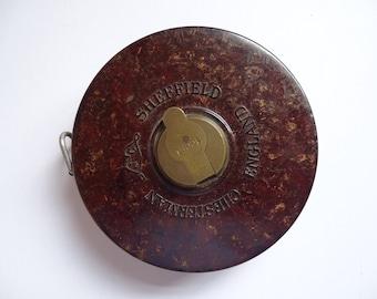 Vintage Chesterman Bakelite covered reel tape measure 100 ft Retro Tools Workshop Collectors Holiday Gift