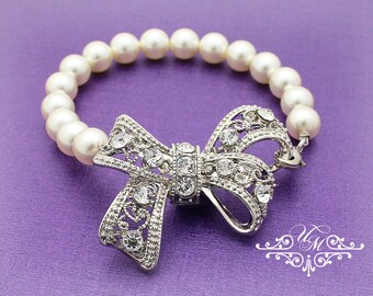 Wedding Jewelry Single Strand Pearl Bow Bracelet Bridal Bracelet Bridesmaids Bracelet Rhinestone Bow Swarovski Pearl Bracelet - KITTY