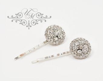 Wedding jewelry Rhinestone circle headpiece Bridal hair pins Bridesmaids hair pins Rhinestone hair pins Rhinestone bobby pins - OLIVE