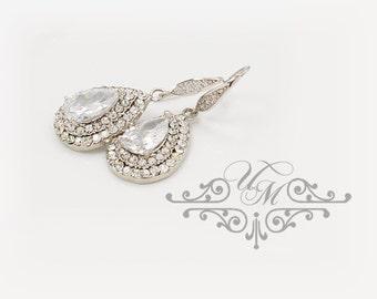 15% OFF Wedding Jewelry AAA Cubic Zirconia Teardrop Earrings ear wires Teardrop Earrings Bridal Earrings Bridesmaids Earrings - TIFFANIE