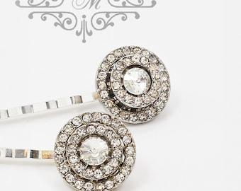 Wedding jewelry Rhinestone circle headpiece Bridal hair pins Bridesmaids hair pins Rhinestone hair pins Rhinestone bobby pins