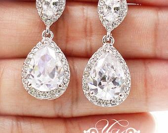 Wedding Jewelry AAA Cubic ZIRCONIA Teardrop Earrings Studs Teardrop Earrings Bridal Earrings Bridesmaids Earrings - CARI