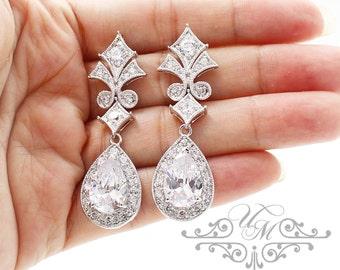 Wedding Jewelry AAA Cubic Zirconia Teardrop Earrings studs Teardrop Earrings Bridal Earrings Bridesmaids Earrings - ABBIE