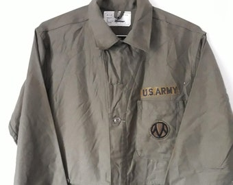 69aafeb11f24 Vintage unisex 60 s 70 s US Army olive green utility mechanic coverall long  sleeve outfit size medium with 89th Infantry Division patch