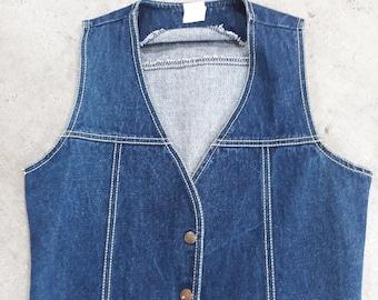 Vintage Sears women's denim vest western cowgirl size large
