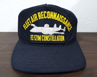 5c5bea130a3 Vintage EC-121M Constellation Fleet Air Reconnaissance embroidered US Navy  blue snapback hat made in Usa