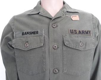 bf33f860934 Vintage 60s 70s Vietnam era US ARMY combat utlity sateen OG-107 long sleeve  shirt size 15 1 2 x 33.