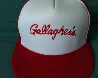 8a7d762e7662c Vintage unisex Gallagher s red and white trucker baseball mesh snapback hat.