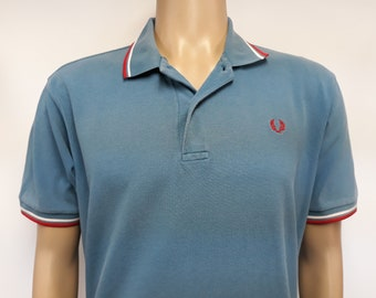 a433c1017 Vintage unisex polo shirt Fred Perry blue with white and red stripes size xl