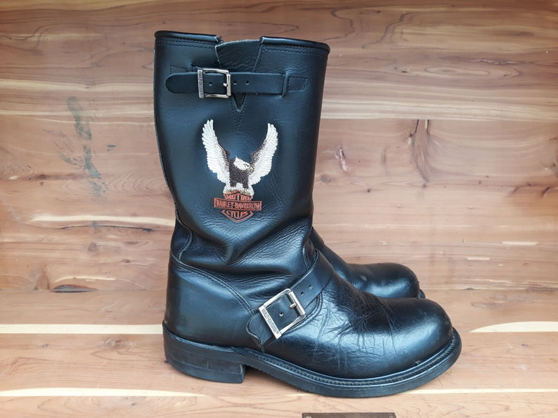 8661d5e8657f20 Vintage original Harley Davidson motorcycle leather boots with