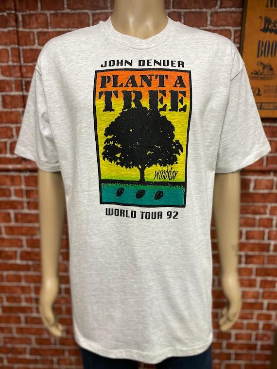 Vintage Original 90\u2019s John Denver Concert tour 1991 American Singer Staff T-Shirt