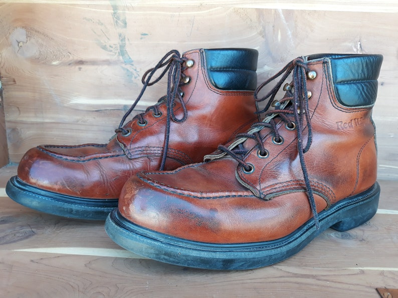 76f26b59f1c Vintage 80's men's Red Wing brown moe toe work hunting outdoor boots style  #204 size 9D made in Usa.