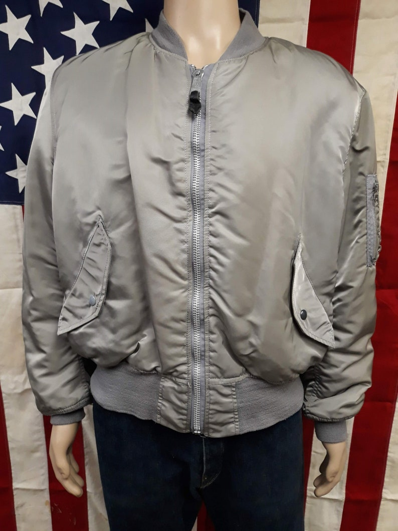 71fc52805cf Vtg 80 s unisex military US Air Force MA-1 gray reversible