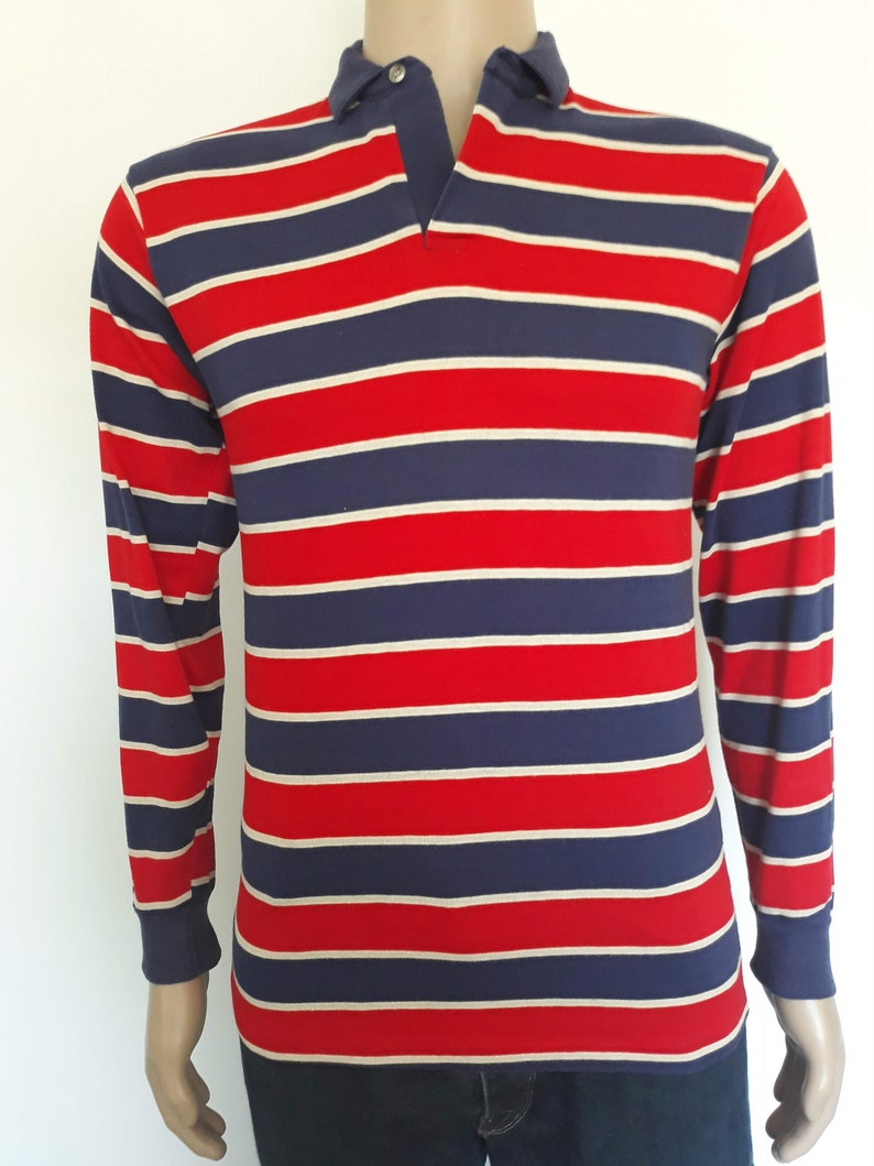 Vintage 1980/'s men/'s Forge striped long sleeve fashion knit shirt size medium made in Usa.