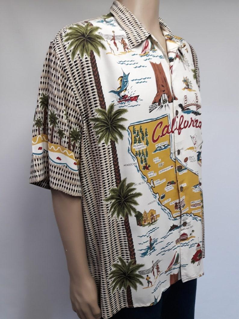 made in Usa. Vintage men/'s hawaiian rayon shirt Reyn Spooner California map souvenir print size xlarge