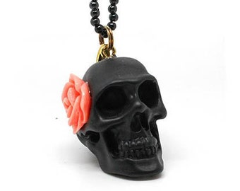 Pink skull and Flower necklace