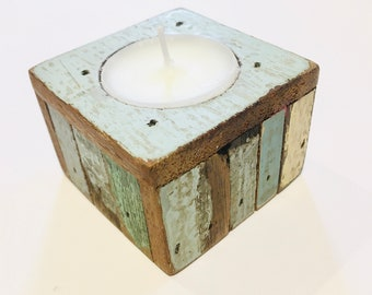 Recycled wood square candlestick - several colours available