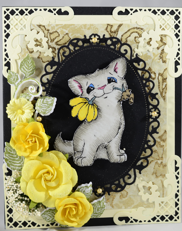 Happy Birthday Greeting Card Cat Cardpuurfect Birthday Etsy