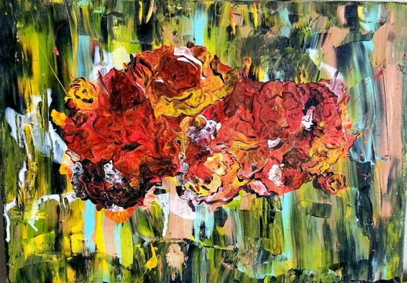 Original Abstract Painting Fall Colors Painting Still Life Acrylic Flower Painting Floral Wall Art On Canvas