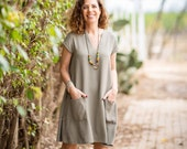 Trapeze Dress, Olive Dress, Women Dress, Short Dress, Mini Dress, Short Sleeve Dress, Loose Style, Dress With Pockets, V Neck Dress, Casual