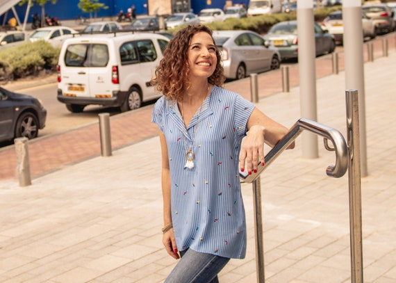 Light top Summer top button shirt Blue short Day top top oversized casual women Birds for shirt Stripted V Denim top neck shirt RARrOxwq
