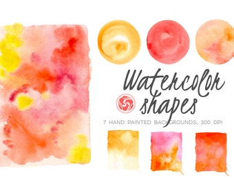 WATERCOLOR BACKGROUNDS for instant download, painted circles, rectangles, wet wash watercolor, orange red overlay