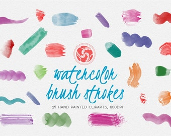 WATERCOLOR BRUSHES for instant download - brush strokes, blob brush, watercolor splotch, blotch, stain, craft, typograhy, clipart