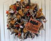 Large burlap Halloween wreath. Burlap candy corn bat countdown wreath.  Halloween decor. Rustic Halloween fall.  Chalkboarf Burlap halloween