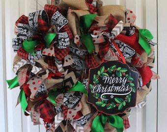 extra large burlap christmas wreath shabby chic rustic christmas wreathrustic christmas decor rustic holiday - Burlap Christmas Wreath