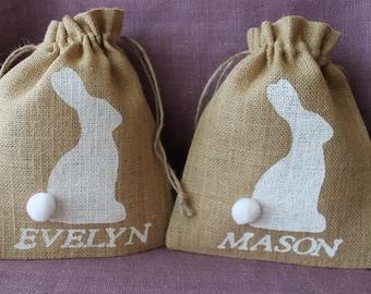 Burlap Easter Basket Bunny Bag.  Personalized 8 x 10 burlap sack with bunny.  Personalized Easter Basket
