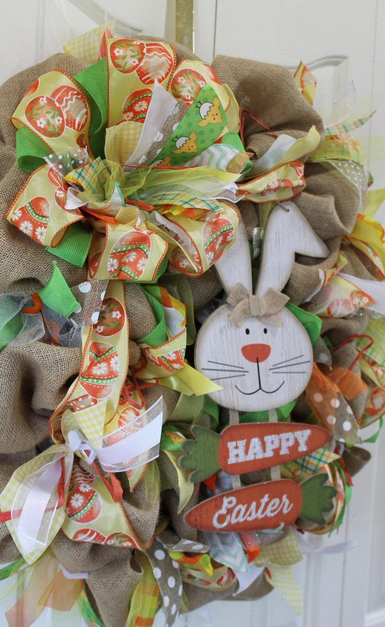 Spring rustic wreath. Spring and summer wreath and decor Rustic burlap wreath XL Spring burlap Easter Bunny wreath Spring burlap decor