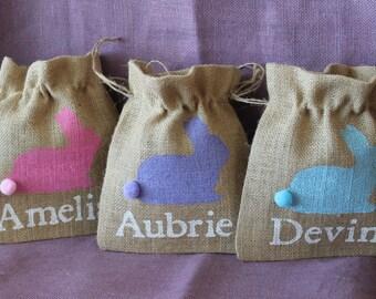Burlap Easter Basket Bunny Bag.  Personalized 8 x10 burlap sack with bunny.  Personalized Easter Basket