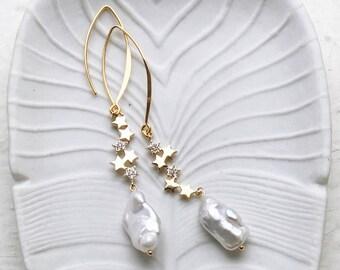Constellation earrings, Shooting star earrings, Cosmic earrings, Gold star earrings, Gold pave earrings, Boho wedding, Gold vermeil