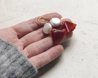 Red dangle earrings, Chinese fan earrings, Baroque pearl earrings, Red boho earrings