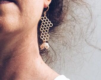 Geometric beehive earrings, Large gold dangle earrings, Hexagon earrings, Unique earrings