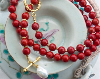 Y necklace, Coral necklace, Gold toggle necklace, Red lariat necklace, Red coral and pearl necklace, Elegant necklace Baroque pearl necklace