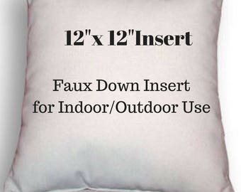 """Pillow Form - 12"""" x 12"""" Pillow Insert - Indoor or Outdoor Use - Faux Down Insert for Your Patio or Home Decor Use"""
