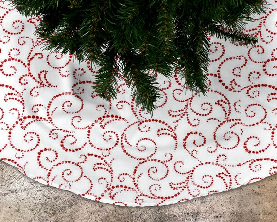 image 0 - Red And White Scroll Christmas Tree Skirt Lined Tree Skirt Etsy