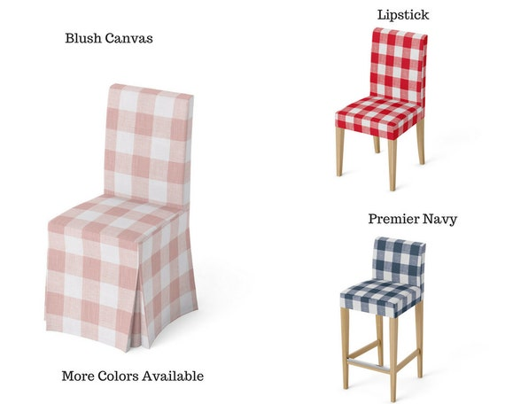 Magnificent Replacement Slipcover For Ikea Henriksdal Chair Or Bar Stool Cover Buffalo Check Large Gingham Classic Farmhouse Style Andrewgaddart Wooden Chair Designs For Living Room Andrewgaddartcom