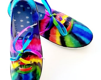 e2a7839a6f Tie-Dye Canvas Shoes! Super cute and comfy! Women sizes US 6-11 available  through custom order!
