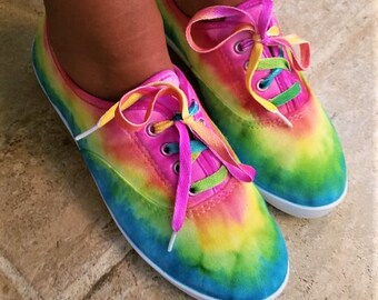 5f9e447dc66d Tie-Dye Canvas Shoes! Super cute and comfy! Most women sizes US 6-11  available through custom order!