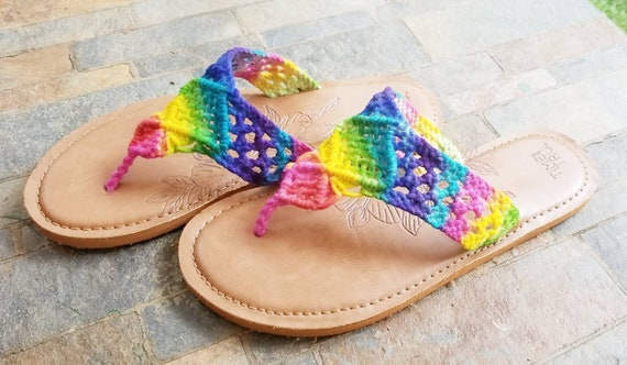 Be Bright! Crochet Tie Dye Sandals for the Colorful Hippie! Available in women's sizes 5 8