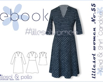 Ebook / Sewing pattern lillesol women No.55 Dress & Shirt Candela *with video sewing instructions*