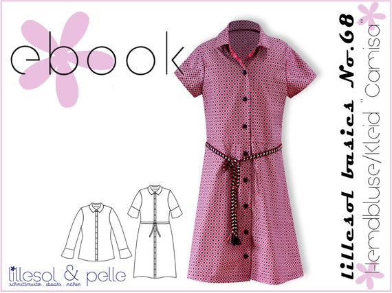 Ebook/Cut Pattern lillesol women No 43 shirt blouse & dress Camisa * with  video sewing instructions *